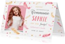 Communie lentefeest veertjes roze confetti