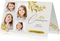 Communie uitnodiging goud blad verf fotocollage