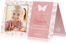 Communie uitnodiging roze voor meisjes met lente dieren