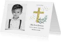 Communie uitnodiging stijlvol kruis goud waterverf takje