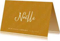 Communie uitnodiging stijlvol oker en takjes