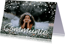 Communiekaart grote foto confetti kader