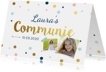 Communiekaart meisje confetti