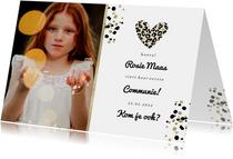 Communiekaart met foto en panterprint hartje