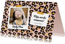 Communiekaart panterprint met goudlook en foto