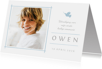 Communiekaart uitnodiging foto en blauw duifje