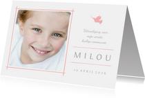 Communiekaart uitnodiging foto en roze duifje
