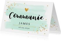 Communiekaart waterverf mintgroen goud confetti