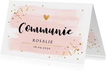 Communiekaart waterverf roze gouden confetti