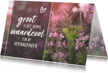 Condoleance - gedicht hartje roze bloemen