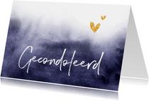 Condoleancekaart gecondoleerd verf stijlvol goud hartjes