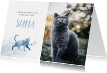 Condoleancekaart huisdier kat grote foto waterverf spetters