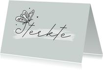 Condoleancekaart sterkte vlinder stijlvol hartjes