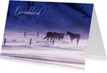 Condoleancekaart van paarden in de sneeuw