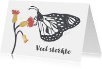 Condoleancekaart vlinder en bloem
