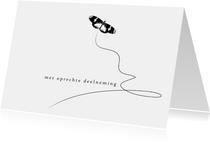 Condoleancekaart Vlinder zwart wit