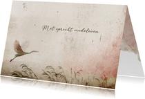 Condoleancekaart vogel roze nevel