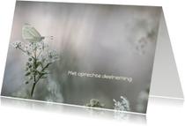 Condoleancekaart witte vlinder