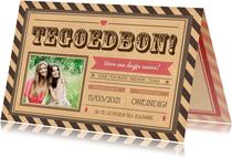 Verjaardagskaarten - Corona tegoedbon kaart met foto voor een aanpasbaar kado