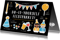 Corona verjaardagskaart do-it-yourself uitknip feestpakket
