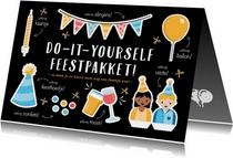 Corona verjaardagskaart do-it-yourself uitknip feestpakket