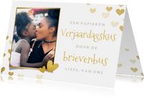 Corona verjaardagskaart - kus brievenbus met foto