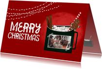 Cozy kerstkaart met foto en illustratie