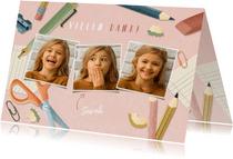 Dankeskarte Einschulung rosa Fotos, Schere & Papier
