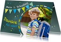 Dankeskarte Einschulung Schultafel grünblau und Foto
