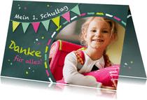 Dankeskarte Einschulung Schultafel grünrosa und Foto