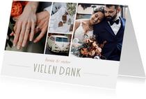 Dankeskarte Fotocollage Hochzeit moderne Klassik