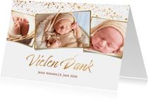 Dankeskarte Geburt Fotocollage Goldlook