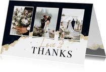 Dankeskarte Hochzeit Bilderreihe Aquarell schwarz-gold