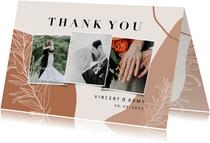 Dankeskarte Hochzeit filigrane Zweige Fotocollage