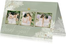 Dankeskarte Hochzeit Fotocollage botanisch Dschungelblätter
