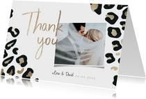 Dankeskarte Hochzeit Leopardenmuster und Foto