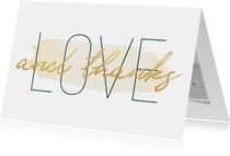 Dankeskarte Hochzeit mit Foto 'Love and thanks' im Goldlook