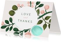 Dankeskarte Hochzeit mit Foto und eleganten Blumenzweigen