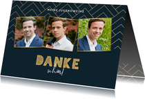 Dankeskarte Jugendweihe Fotos grafisch blau