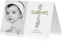 Dankeskarte Taufe botanisches Kreuz und Foto