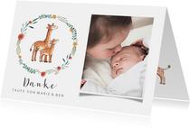 Dankeskarte Taufe Geschwister Giraffen im Blumenkranz