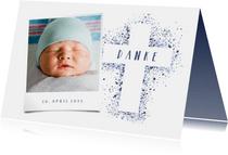 Dankeskarte Taufe Kreuz blau Spritztechnik Foto