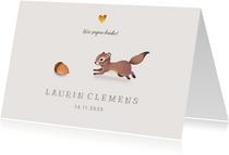 Dankeskarte zur Geburt Eichhörnchen Foto innen