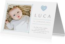 Dankeskarte zur Geburt eigenes Foto und Herz blau