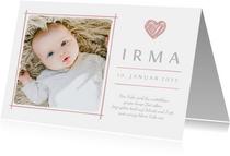 Dankeskarte zur Geburt eigenes Foto und Herz rosa
