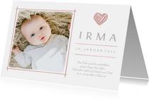Dankeskarte zur Geburt eigenes Foto und rosa Herz