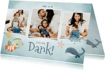 Dankeskarte zur Geburt Fotocollage blaue Unterwasserwelt
