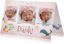 Dankeskarte zur Geburt Fotocollage rosa Unterwasserwelt