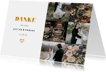 Dankeskarte zur Hochzeit Goldakzente Fotos A6