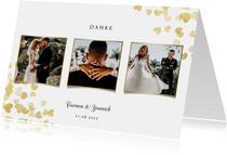 Dankeskarte zur Hochzeit Goldene Herzen